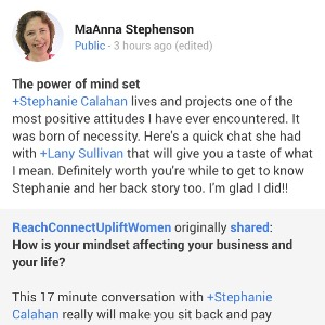Reach Connect Uplift Women Lany Sullivan Mindset for Success MaAnna Stephenson Testimony
